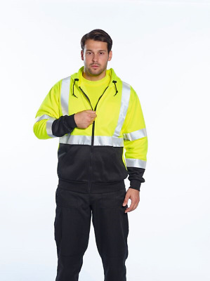 CLASS 3  HIGH VISIBILITY HOODED SWEATSHIRT W// REFLECTIVE TAPE SIZES S-4XL B304