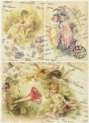 Rice Paper Angels Postcard 2 Decoupage Scrapbook Sheet Craft