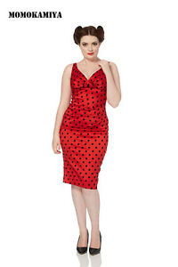 VOODOO-VIXEN-JAWBREAKER-RED-POLKA-DOTS-DRESS-VINTAGE-DRA2428-RETRO-ROCKABILLY