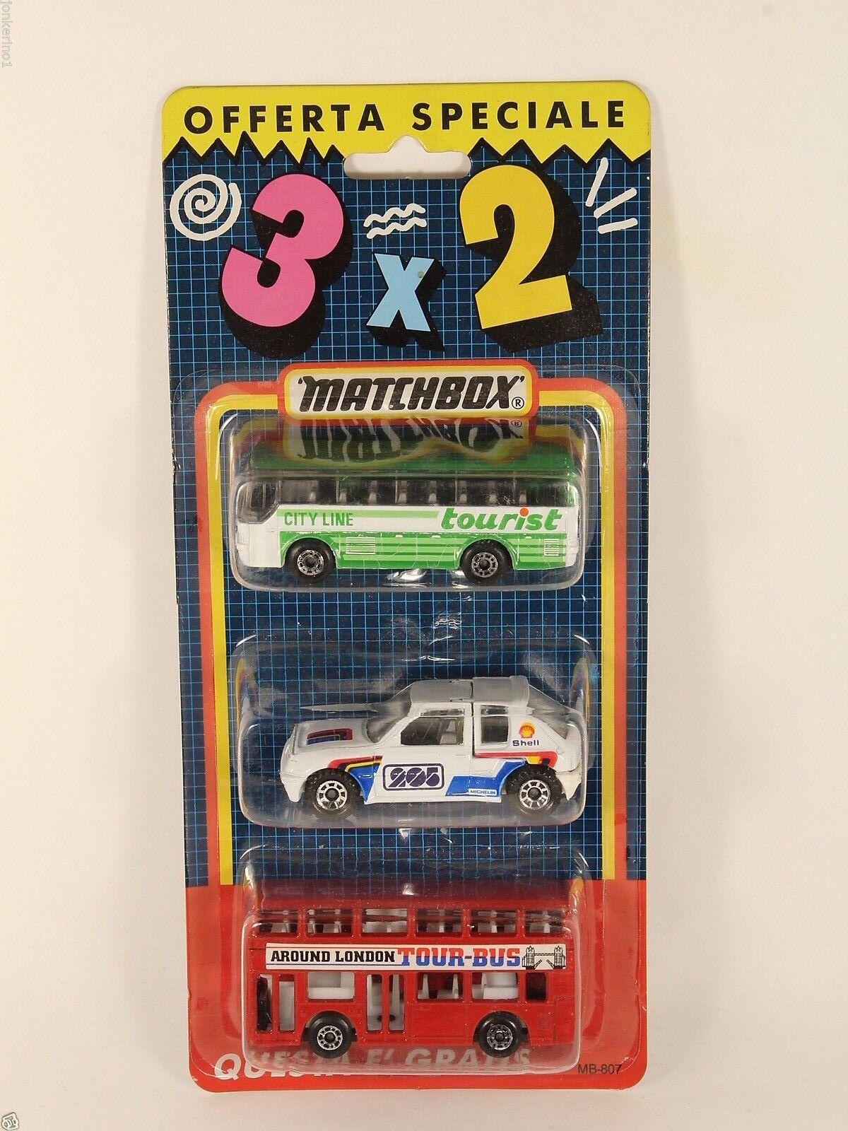 Matchbox mb-807 offerta 3x2 bus city line peugeot 205 london bus mib [of3-82]