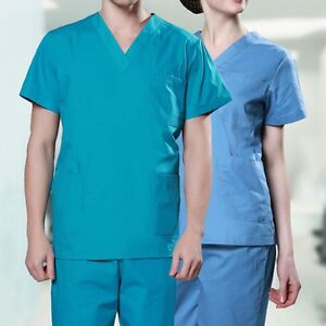 7c09ea70497 New Scrubs Set Nurse Doctor Short Sleeve Workwear Unisex Uniform ...