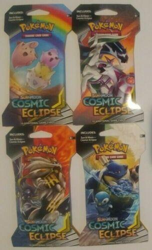 Cosmic Eclipse Blister Booster Packs Sealed 1 of Each Art 4x Pokemon S/&M