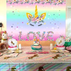DéVoué 7x5ft Licorne Themed Photo Toile De Fond Kid Birthday Party Fond Autocollant Mural-afficher Le Titre D'origine CaractéRistiques Exceptionnelles