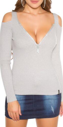 KOUCLA Pullover Pullover A Maglia Costine Maglione Con Cut Out /& STRASS ZIP