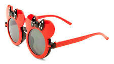KIDS RED BLACK MOUSE EARS FLIP UP SUNGLASSES CLEAR LENS MICKEY MINNIE CUTE BOW