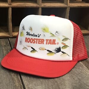 Spinner-Lure-Trout-Fishing-Trucker-Hat-Vintage-80-s-Snapback-Bluegill-Fish-Red