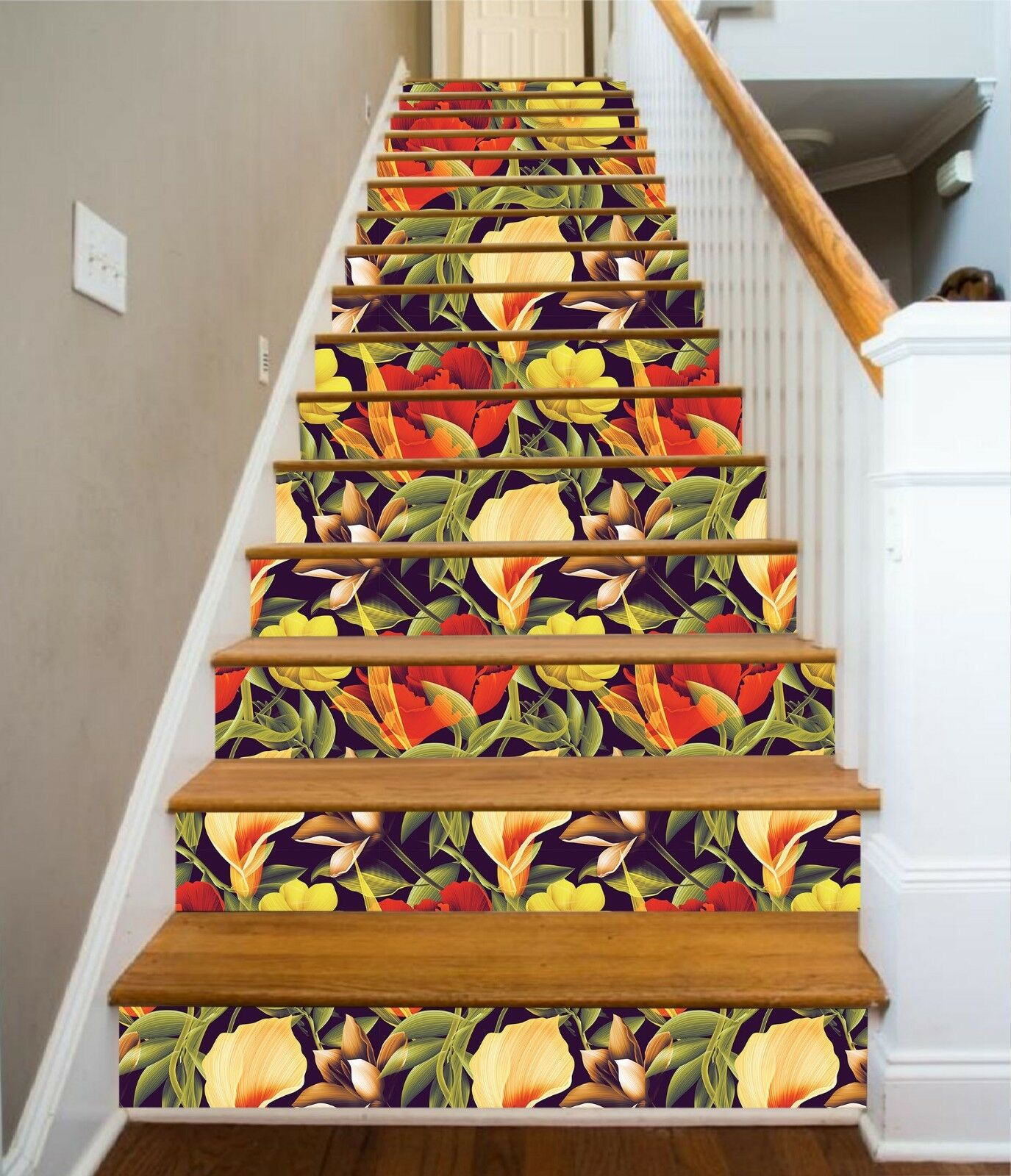 3D Flowers color 4 Stair Risers Decoration Photo Mural Vinyl Decal Wallpaper CA