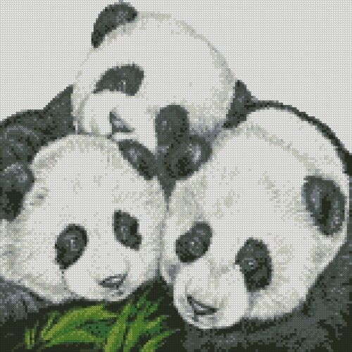 Kit 3 Panda Cubs Cross Stitch Chart