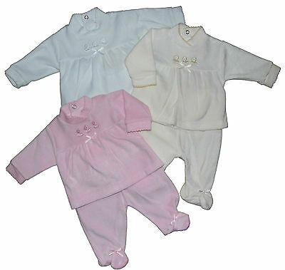 Baby Girl Boy Trouser and Top Set Velour 3 Colours Newborn 0-3M 3-6M Beautiful
