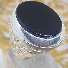 925 sterling silver men ring natural BLACK agate aqeeq yemen onyx stone