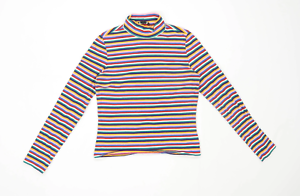 Monki-Womens-Size-S-Striped-Cotton-Blend-Multi-Coloured-T-Shirt-Regular