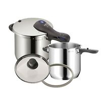 WMF Pressure Cooker Set 18 10 Stainless 6.5 Qt 4.5 Qt With Two Lids Kitchen on Sale