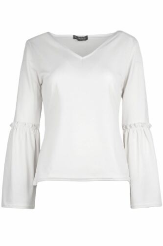 Women Casual Plain Crepe Ladies V Neck Bell Flared Frill Long Sleeve T Shirt Top