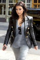 Kim Kardashian Golden Button Double Breasted Leather Jacket For Womens