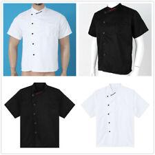Unisex Short Sleeve Chef Coat Jacket Men Women Hotel Kitchen Work Cook Uniform