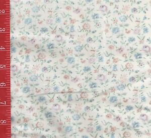 """VINTAGE cotton CREME with TINY print floral FABRIC 44""""W SOLD By the 1/2 Yard"""
