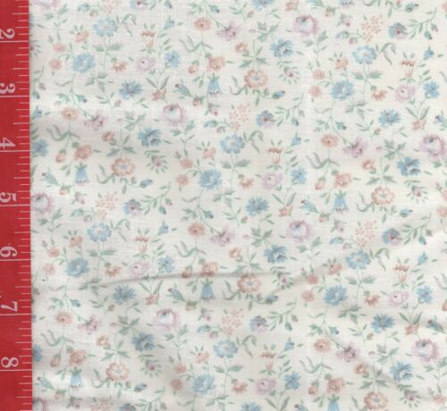 VINTAGE cotton CREME with TINY print floral FABRIC 44W SOLD By the 1/2 Yard