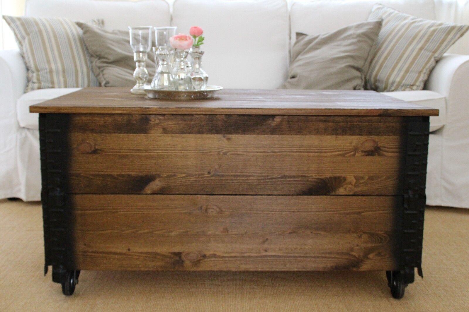 Couchtisch Truhe Wohnzimmertisch Sofatisch Holz massiv vintage shabby loft alt