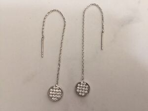 Image Is Loading Sterling Silver Gold Thread Threader Earrings Circle Disc