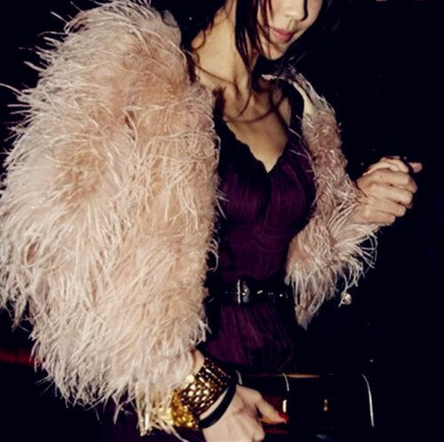 Peloso Bolero Pelo Cipria Coat Giacca Bianco Struzzo Piuma Di Vero Rosa Fur TUAw7xqx