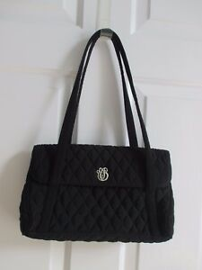 Image Is Loading Vera Bradley Black Quilted Handbag Purse Silver Metal