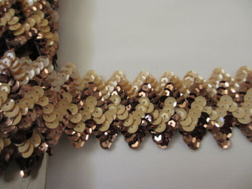 """BTY 1 3//4/"""" Wide Brown Shades Cupped Sequins Chevron Design Trim"""