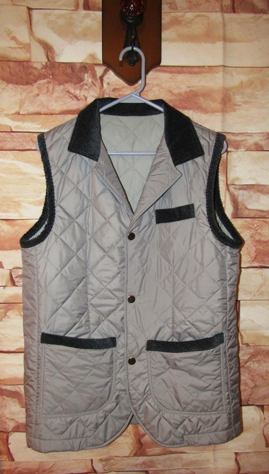 Eidos Napoli  Quilted Snap Front Vest Size IT 46 US Small Grey Navy Nice