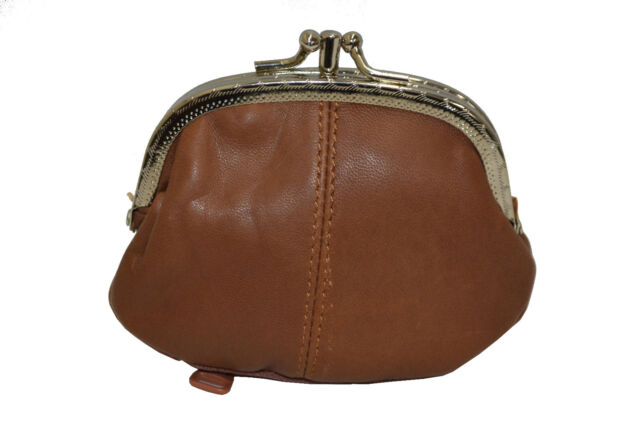 COIN PURSE DOUBLE FRAME WITH ZIPPER POCKET NEW TAN
