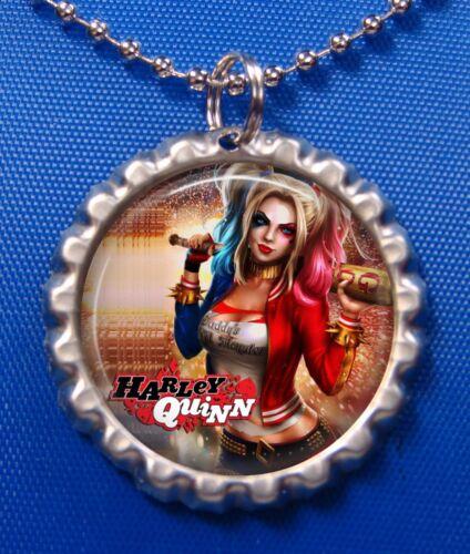 Harley Quinn Silver Bottle Cap Necklace 1