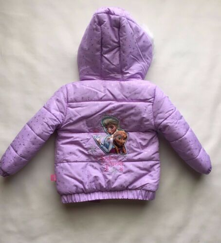 New TODDLER Girls 2T Disney ANNA /& ELSA Frozen COAT Puffer JACKET Purple