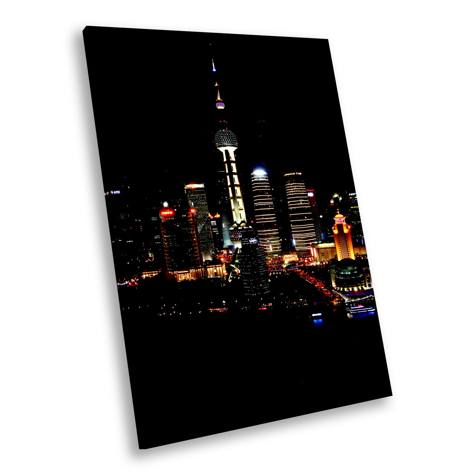 Colourful Stadt Night Skyline Portrait Scenic Canvas Framed Kunst Bild