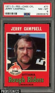 1971 O-Pee-Chee OPC CFL Football #77 Jerry Campbell PSA 8 NM-MT