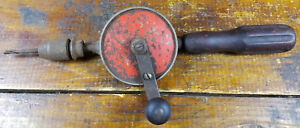 Antique-Vintage-Hand-Crank-Screwdriver-or-Drill-Red-Center-Locked-Up-As-Is