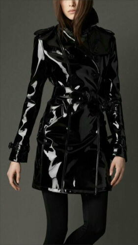 Classic Fit Vinyl Trench Raincoat Women/'s Trench Coat All sizes