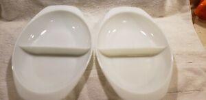2 VINTAGE PYREX WHITE DIVIDED DISHES, 1.5QT