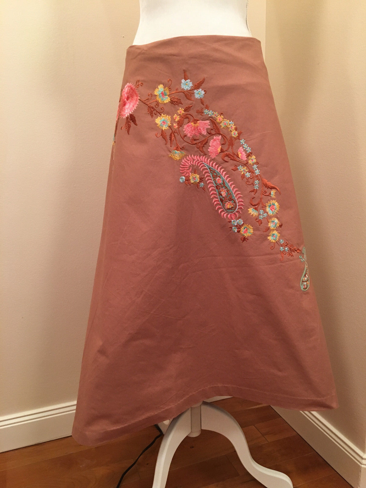 NWOT Mauve PInk LONG FLORAL EMBROIDERED SKIRT by ODILLE for ATHROPOLOGIE 8