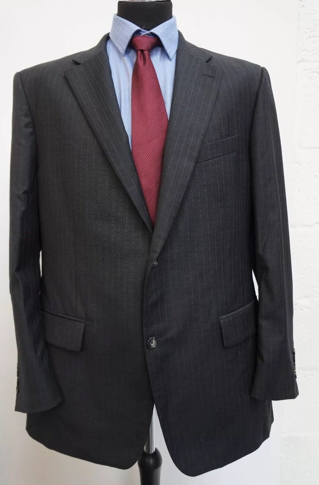 MS14  GREENWOODS ELITE  MEN'S GREY STRIPED WOOL BLEND  CHEST  46R  W 42R   L32