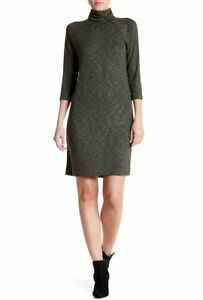 0d6b9197bae NWT Bobeau Women s Turtleneck Knit Dress Black And Olive Green Size ...