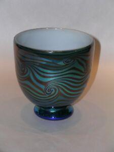 Rick Strini Handblown Luster Sake Bowl Art Glass Cabinet Series Blue Iridescent