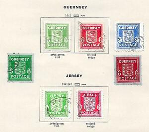 German Occ Guernsey+Jersey stamps 1941 Collection of 7 stamps CANC VF