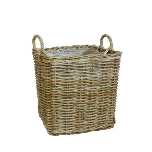 Würfel Korb mit Griff eckig quadratisch Würfelkorb Rattankorb Pflanzkorb