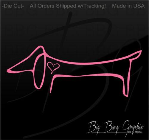 Dachshund Vinyl Decal Sticker Weiner HOT DOG MOM DAD PET Drawn Heart Car Window