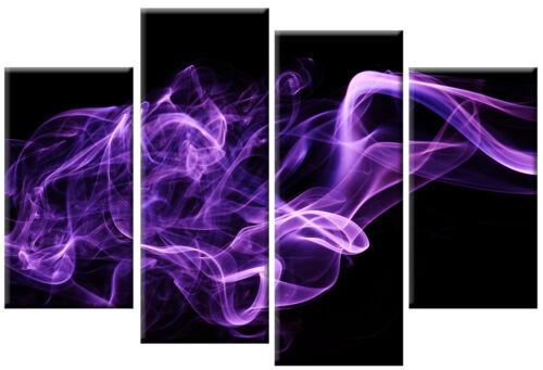 LARGE PURPLE BLACK CANVAS PICTURE ABSTRACT SMOKE MULITI PANEL ART 100 cm wide