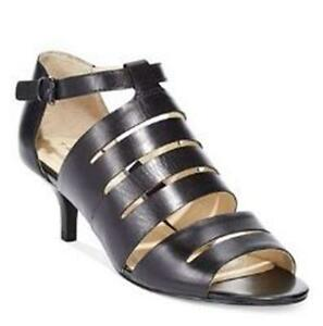 Details about Women's Shoes Tahari DAINTY Strappy Heel Pumps Adjustable Strap Leather Black
