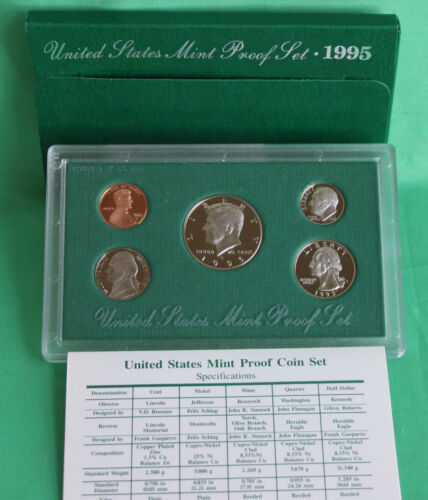 1990-1998 Nine Annual United States Mint Proof Sets FREE Shipping 45 Coins COA