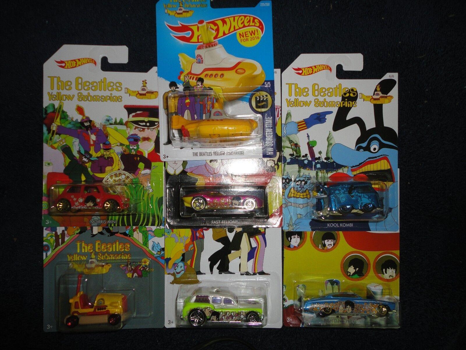 Hot Wheels Conjunto de 6 de The Beatles amarillo Submarine tiempo de pantalla de Hardware Set Plus, Nuevo