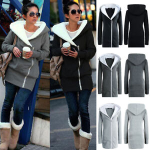 Womens-Ladies-Hoodie-Jacket-Zip-Winter-Parka-Overcoat-Warm-Outwear-Sweater-Coats