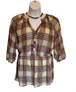 SHEER Plaid Shirt Size XXL (XL) Blouse Chiffon Henley Trendy Mossimo Multi Top