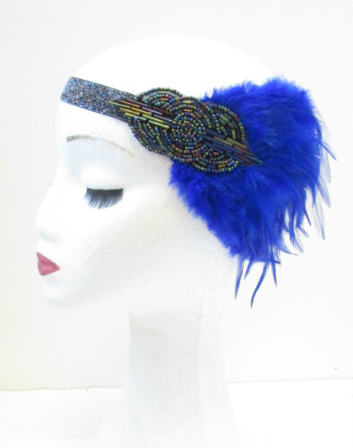 Blue Dark Silver Feather Headband 1920s Headpiece Flapper Great Gatsby Vtg V12
