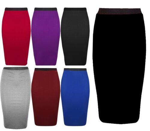 Ladies Women Plain Skirt Knee Length Long Stretchable Office Bodycon Midi Dress